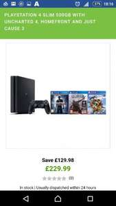 PlayStation 4 Slim 500GB with Uncharted 4, Homefront and Just Cause 3 £229.99 @ Zavvi