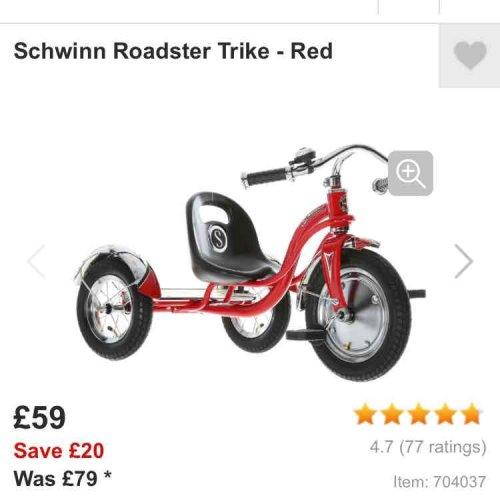 "Schwinn 12"" trike  - £59 @ Halfords (Free C&C)"