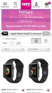 £50 account credit on apple watches at Very - £269.00