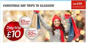 StenaLine Day Trips from Belfast to Glasgow from £10 return, including £5 voucher to spend in the onboard shops (on min purchase of £25)