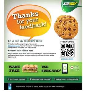 Free cookie for subway survey- takes 1 minute