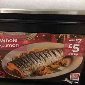 Whole salmon at Asda for £5 per kg (instore)