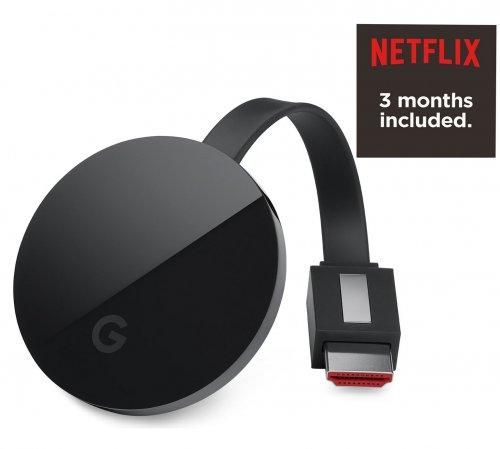 Google Chromecast Ultra+3 Months Netflix + £5 Argos Voucher £69 (Possibly 10%cashback as well) @ Argos