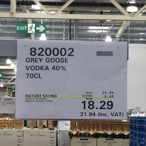 Grey Goose vodka 70cl at Costco - £21.94