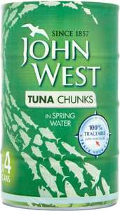 John West Tuna Chunks In Spring Water / Sunflower Oil / Brine (4 x 160g = 4 x 112g drained weight) was £3.00 now 2 x 4 packs for £5.00 @ Asda
