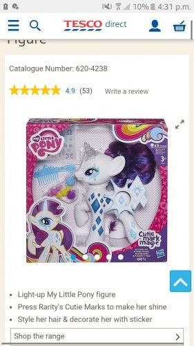 My little pony rarity light up £9.99 @ Tesco instore