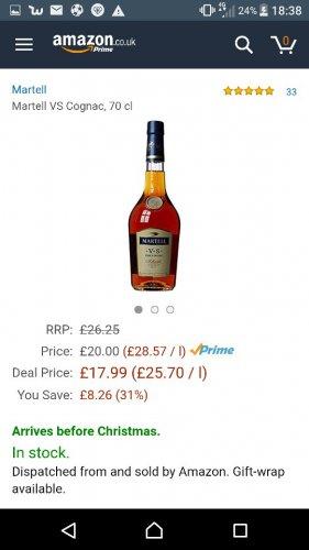 Martell vs fine cognac 70cl Amazon prime £17.99