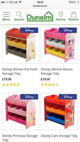 Children's storage £19 @ Dunelm - Spider-Man, Minnie, Disney princess, Winnie the Pooh and McQueen