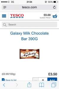 Galaxy Chocolate 390 grams at £1.75 in-store at my local tesco, Sheffield infirmary road.