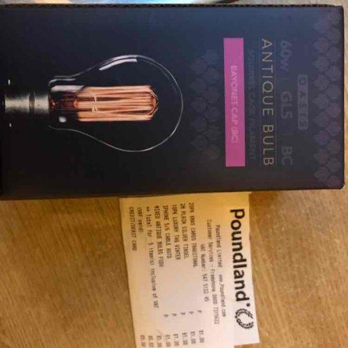 """Antique"" style squirrel cage filament bulb £1 @ Poundland"