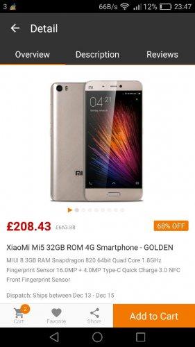 XiaoMi Mi5 32GB 4G Smartphone *GOLD* £208.43 @ Gearbest Flash Sale