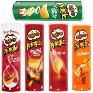 Pringles 99p at Tesco, Pringles £1.12 at Sainsburys, Pringles Tortilla £1.24 at Tesco. Includes Original, Paprika, Texas BBQ, Sour Cream, Smoky Bacon, Pigs In Blankets, Prawn Cocktail, Flame Grilled Steak, Cheese And Onion And More