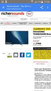 Panasonic TX49DX600B £469 49inch 4k Ultra hd smart led tv@richersounds free delivery  (refurbished see description)