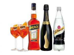 Aperol Spritz Bitters Kit: 70cl Aperol Aperitivo + 75cl Prosecco + Schweppes Soda Water + 2x Aperol Glasses for £19.99 (+ P&P from £5.99 per order, get 25kg of items - possible TCB £6.25 cashback - read for tips) Approved Food