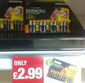 8 pack Duracell plus+ AA batteries, 50% more power (premier Colne) £2.99 @ Premier Stores