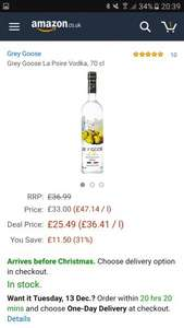 Grey Goose La Poire £25.49 on amazon lightning deal
