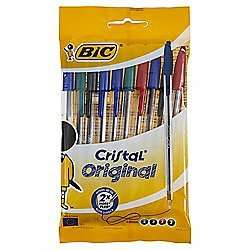 Bic Cristal Ballpoint Pens Assorted Black/Blue/Red/Green 10 Pack 1/2 Price £1.50 WAS £3 TESCO DIRECT (FREE NEXT DAY C+C)