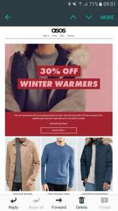 ASOS 30% off winter clothes ladies and mens