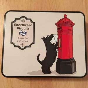 This gorgeous Scotty Dog Tin containing delicious Shortbread pieces ONY £1! - Poundland