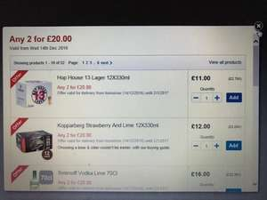 2 for £20 on 70CL Spirits, beer and wine from Tesco, mix and match