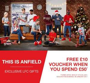 Liverpool FC, £10 gift card for £50 spent, official LFC store