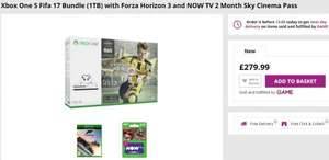 Xbox One S Fifa 17 Bundle (1TB) with Forza Horizon 3 and NOW TV 2 Month Sky Cinema Pass £279.99 @ Game