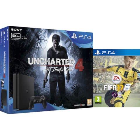 PS4 500GB with Uncharted 4 & FIFA 17 - Zavvi
