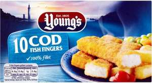 Young's 10 Cod (56% Fillet) Fish Fingers Frozen (280g) was £2.00 now £1.00 @ Ocado
