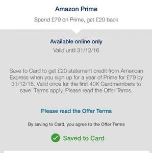 Amex Offer - Amazon Prime Spend £79 get £20 back