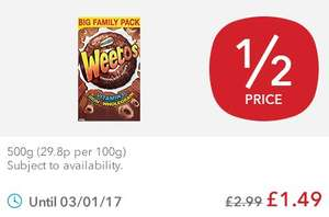 Weetabix Weetos Chocolatey 500g for £1.49 down from £2.99 @ Coop