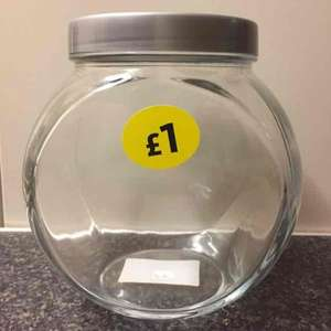 Glass biscuit jars £1 at Morrisons.