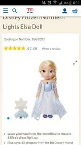 Disney Frozen Northern Lights Elsa doll reduced from £39.99 - £15.66 Tesco
