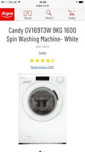 Argos, Candy 9kg 1600 Spin Washing Machine £229