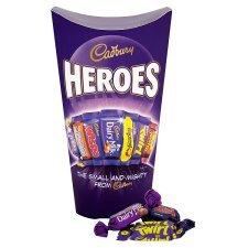 Cadbury Heroes Carton 323G (£2) Celebrations Carton 240G (£1.5) Cadburys Roses Carton 328G With Wrap (£2) Tesco Groceries