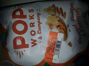 Pop Works And Company Peanut Butter And Caramel Flavour Popcorn 39p sold at Co-Op, originally 1.39