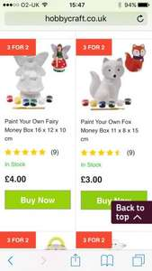 Paint your own moneybox £2 @ Hobbycraft (£1 c&c)