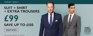 Moss Bros- Suit+2trousers+Shirt = £99 only