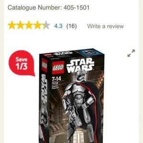 lego star wars 75118 captain phasma tesco - £5.95 (Free C&C)