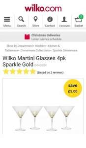 Wilko Martini Glasses 4pk Sparkle Gold at wilko.com