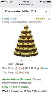 Ferrero Rocher pyramid £16.49 (Prime) / £21.24 (non Prime) at Amazon