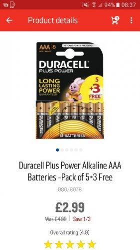 8 AAA Duracell Batteries £2.99 Argos