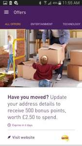 Free 500 nectar points worth £2.50 for updating address