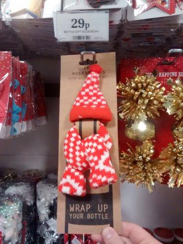 Christmas Bottle Hat &  Scarf 29p Home Bargains