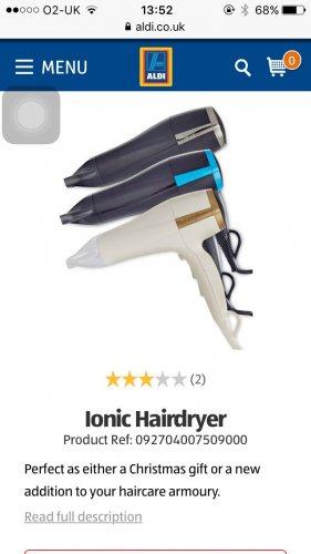 Iconic hair dryer 2200w £3.99 @ Aldi - Broadheath instore