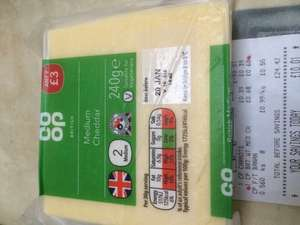 Co-op Medium Cheddar Cheese 240g 68p