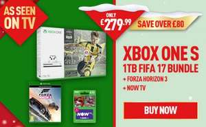 Xbox One S with Fifa 17 1TB, Forza Horizon 3 and NOW TV 2 Month Sky Cinema Pass @ GAME (£279.99)