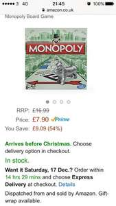 Monopoly original £7.90 (Prime) @ Amazon