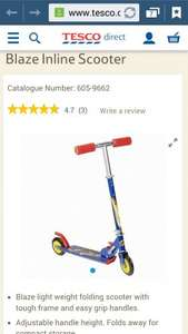 blaze inline foldable scooter £8.54 @ Tescodirect
