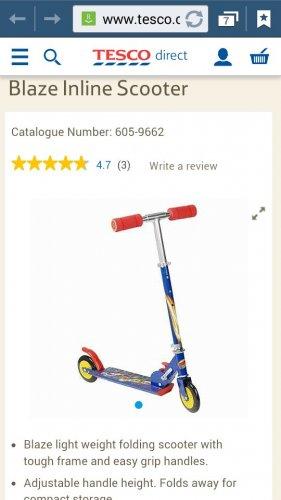 blaze inline foldable scooter £8.54 @ Tescodirect