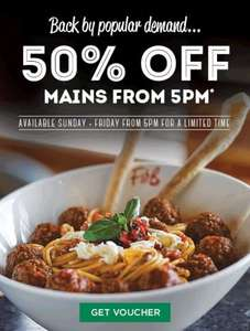 50% off mains Frankie & Benny's Sun - Fri